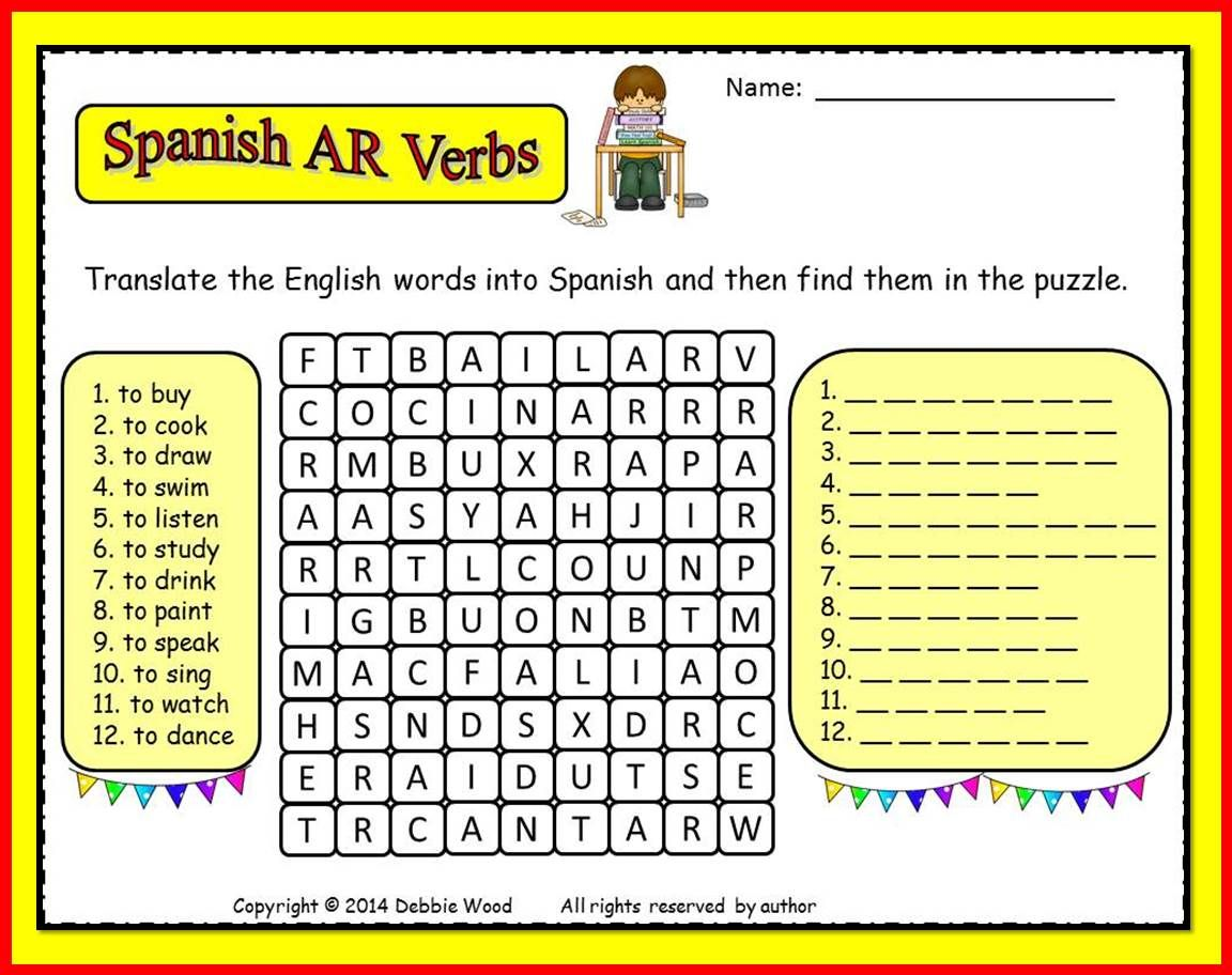 Spanish Ar Verbs Freebie Translate And Find Word Search
