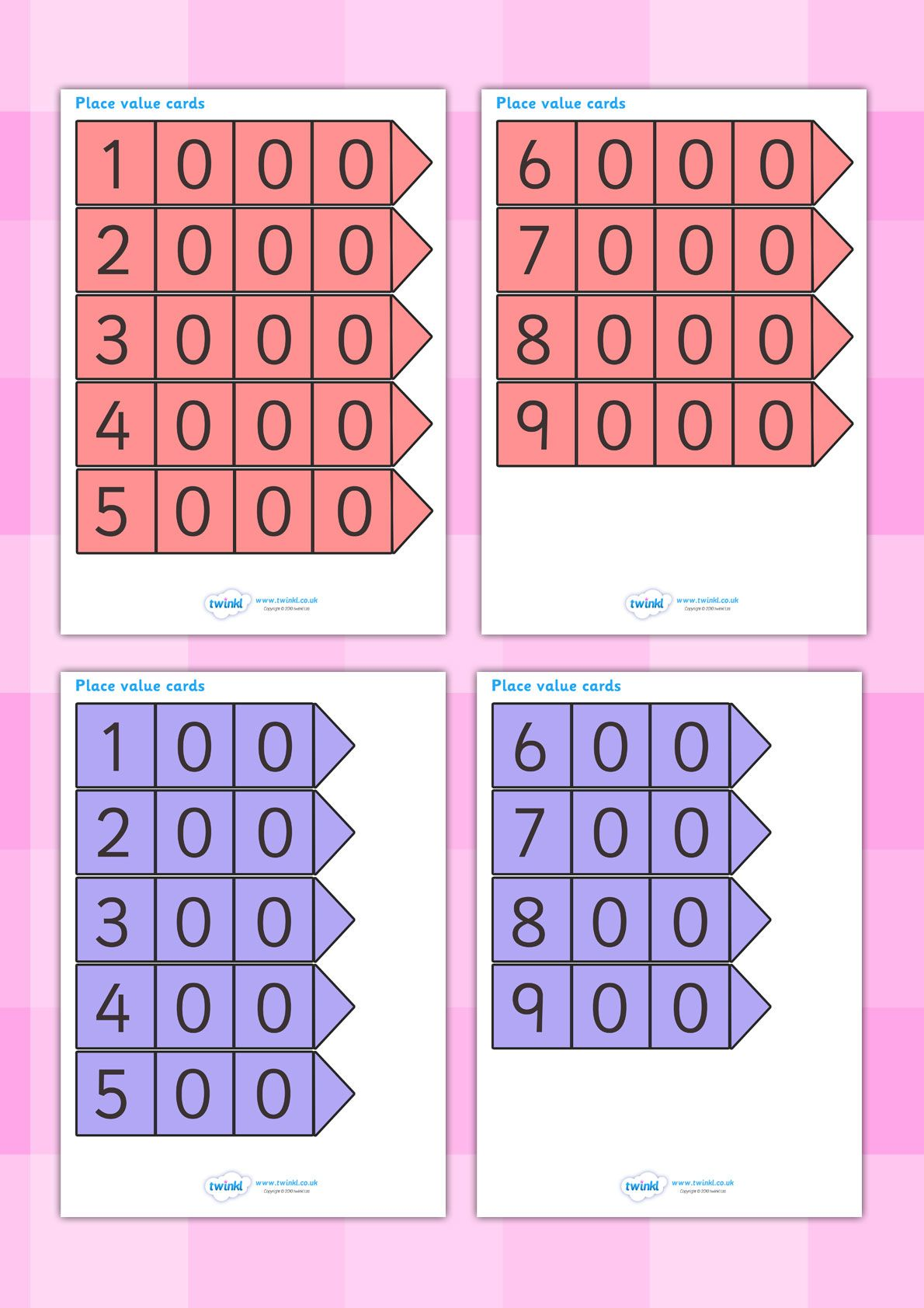 Twinkl Resources Gt Gt Place Value Arrow Cards Gt Gt Classroom Printables For Pre School Kindergarten