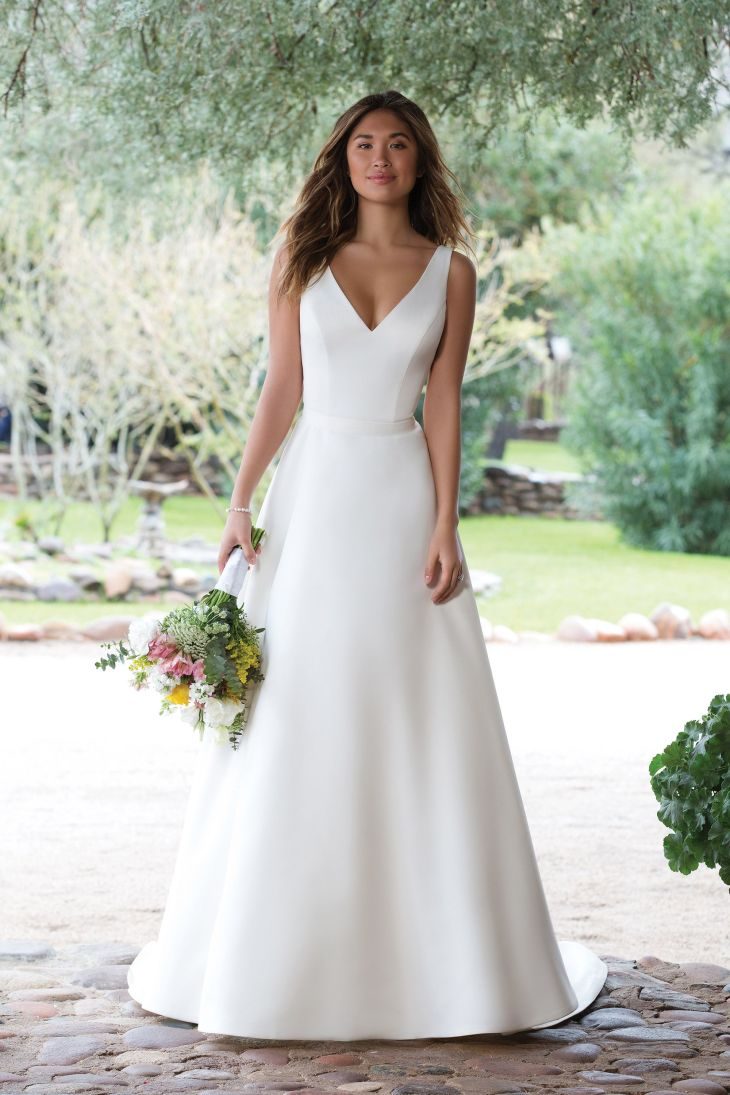 Satin VNeck Gown with Illusion Lace Back  Wedding Dress Ideas