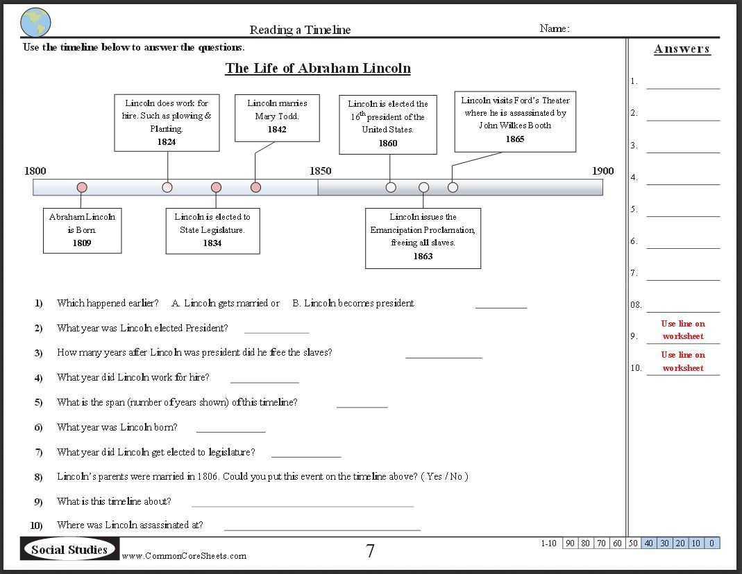 Free Timeline Worksheets Check Out These 10 Free Ccss Worksheets With Answer Keys On A Variety