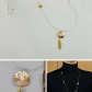 Hammered pendant necklace long gold necklace green stone necklace