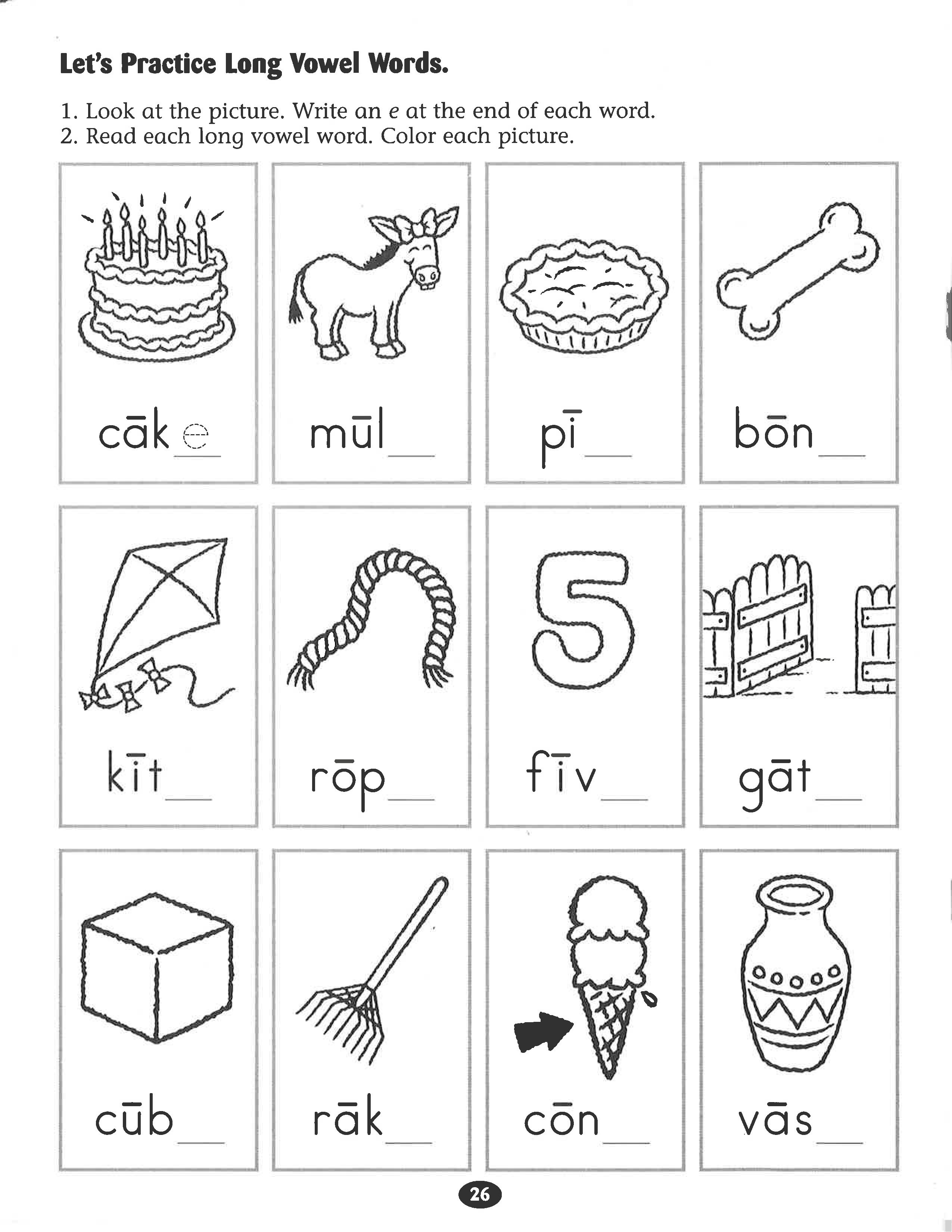 Let S Practice Long Vowel Words Worksheet