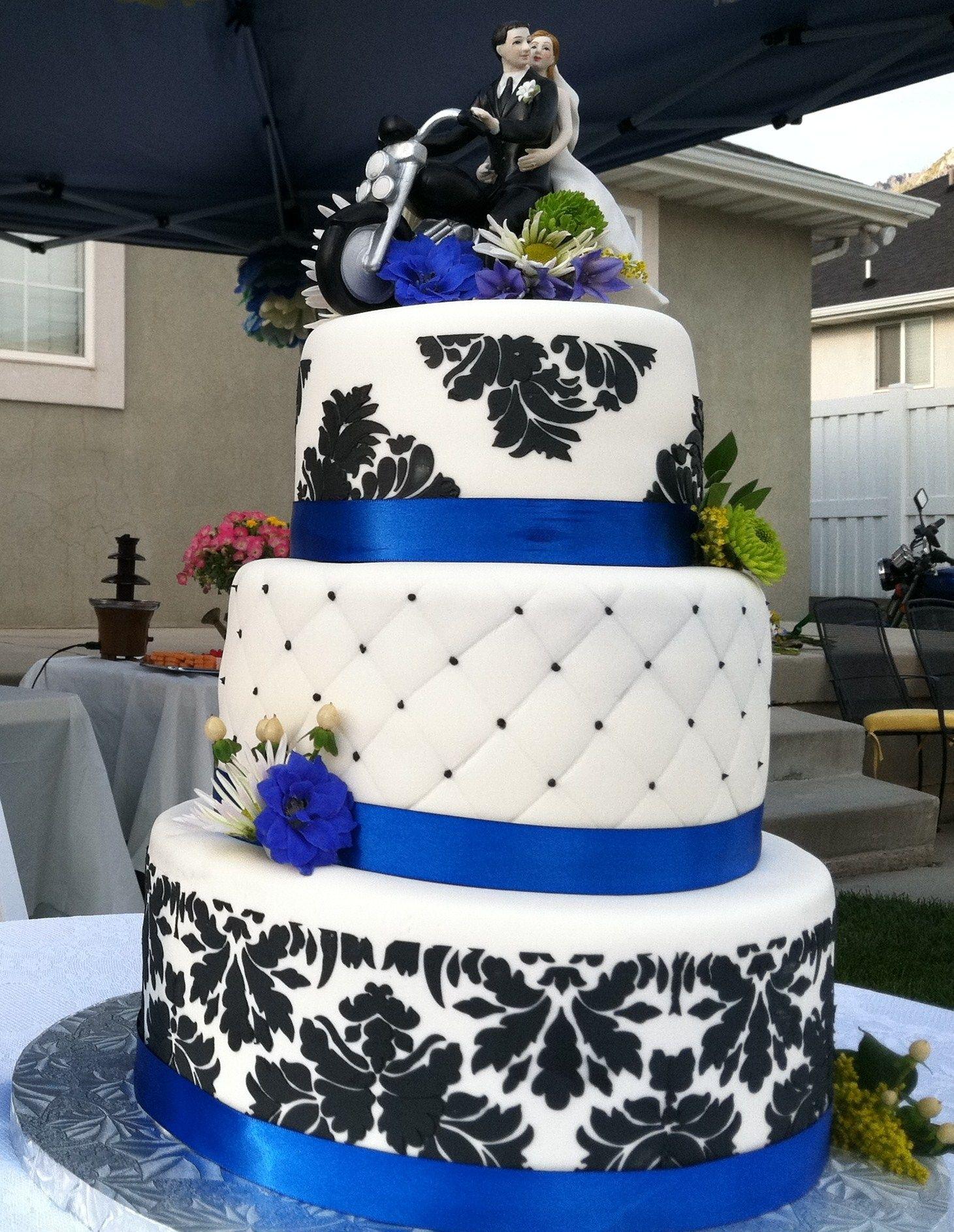 Blue Damask Wedding Cake