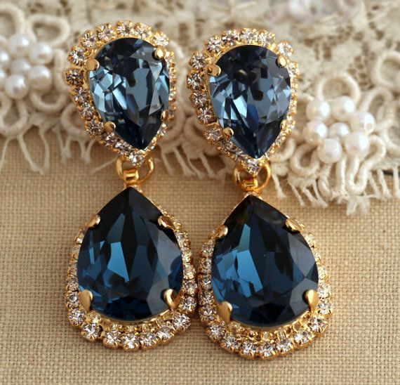Dark Blue Chandelier Earrings Navy Swarovski By Iloniti