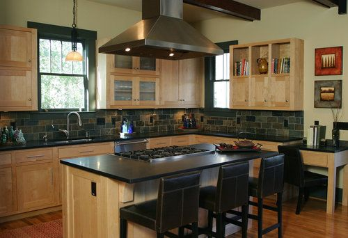 Maple cabinets, stainless-steel appliances and black ... on Modern Kitchen Backsplash With Maple Cabinets  id=96570