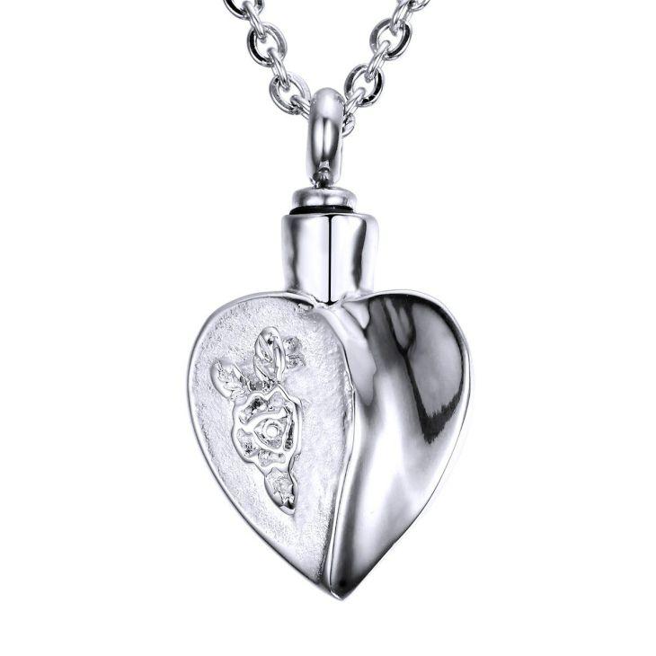 VALYRIA Retro Flower Heart Urn Pendant Necklace Souvenir Material