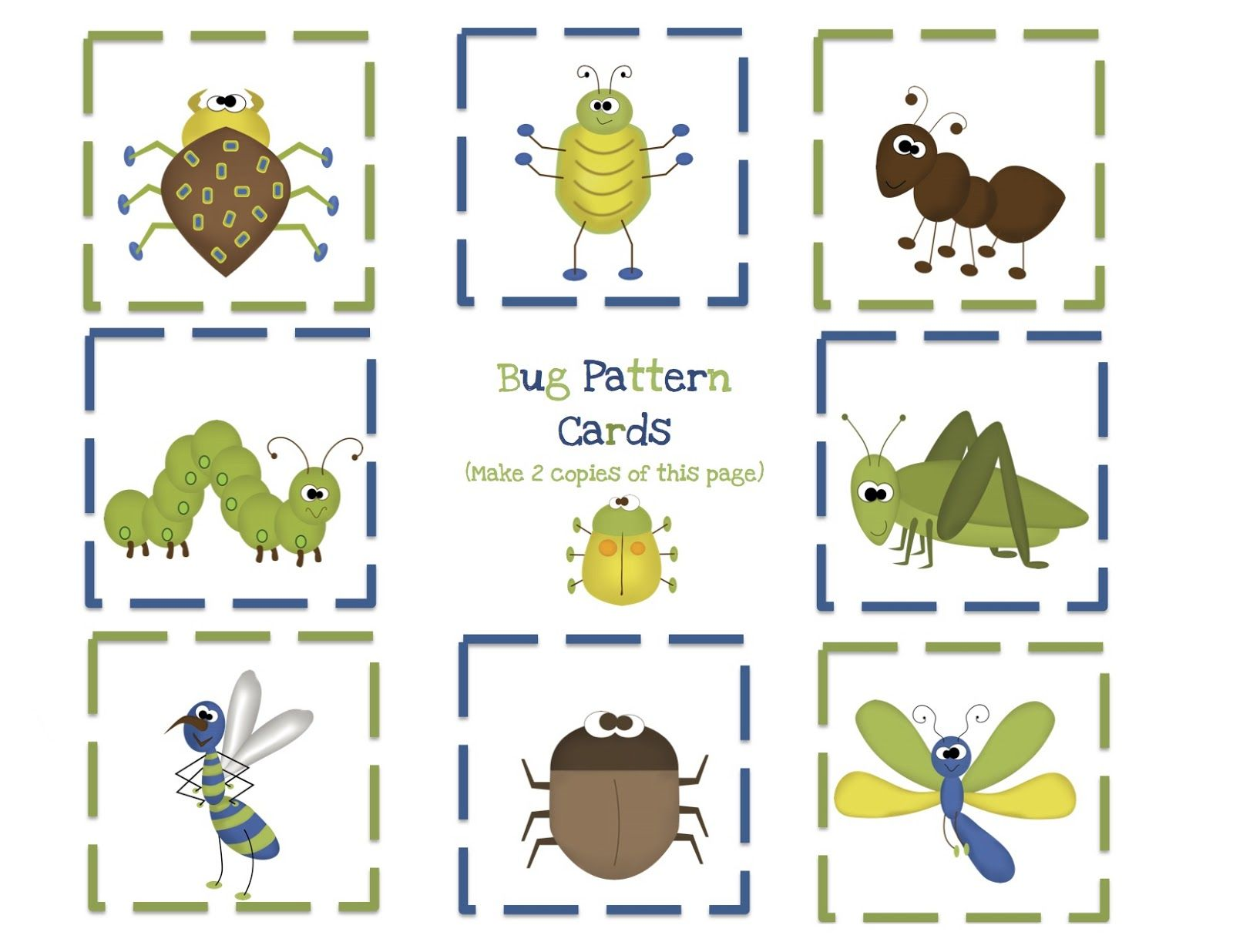 Bug Pattern Cards For Boys Preschool Printables