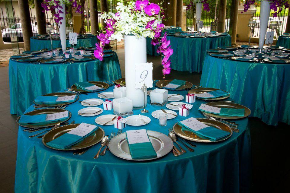Teal Fuchsia Wedding Linen Https://www.facebook.com