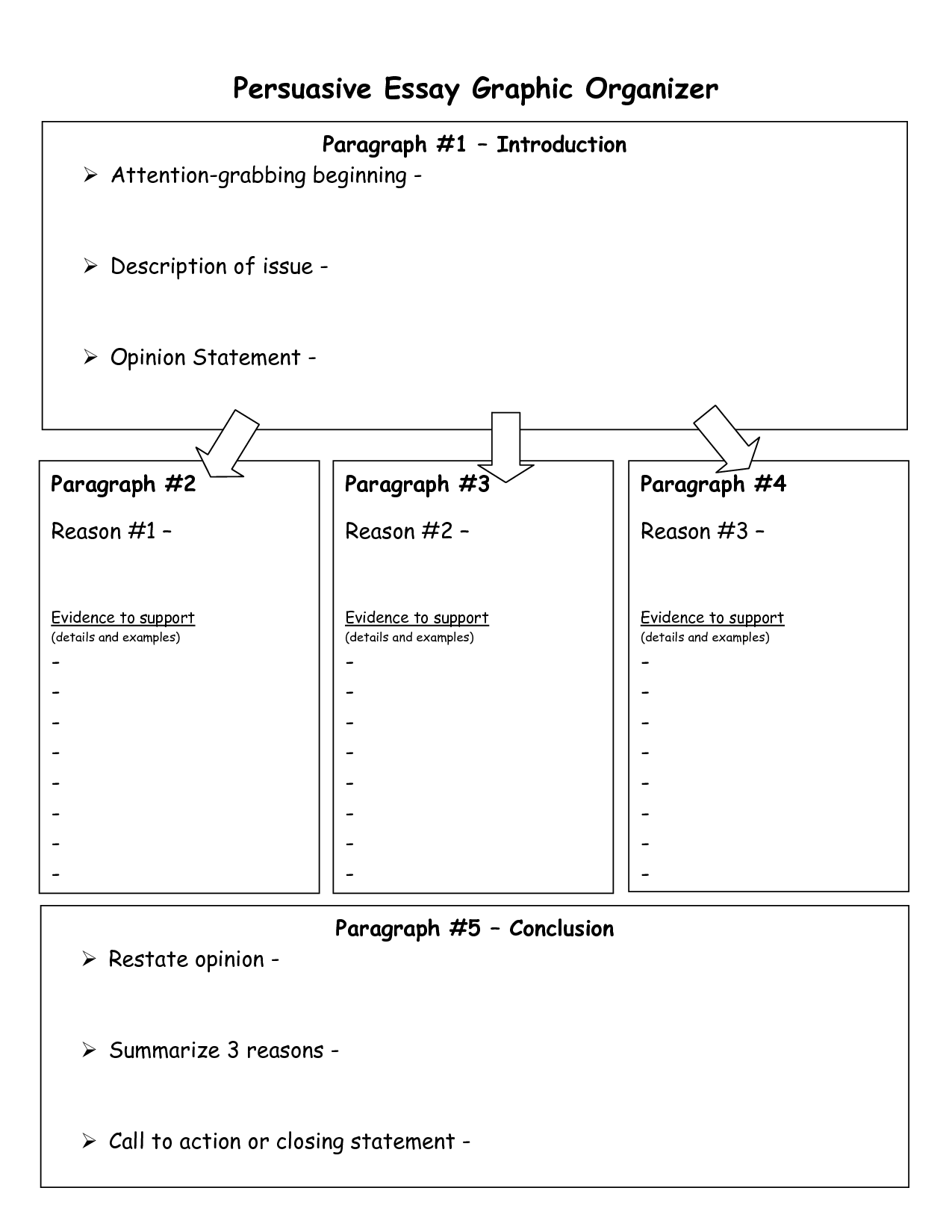 Opinion Essay Prewriting Graphic Organizer