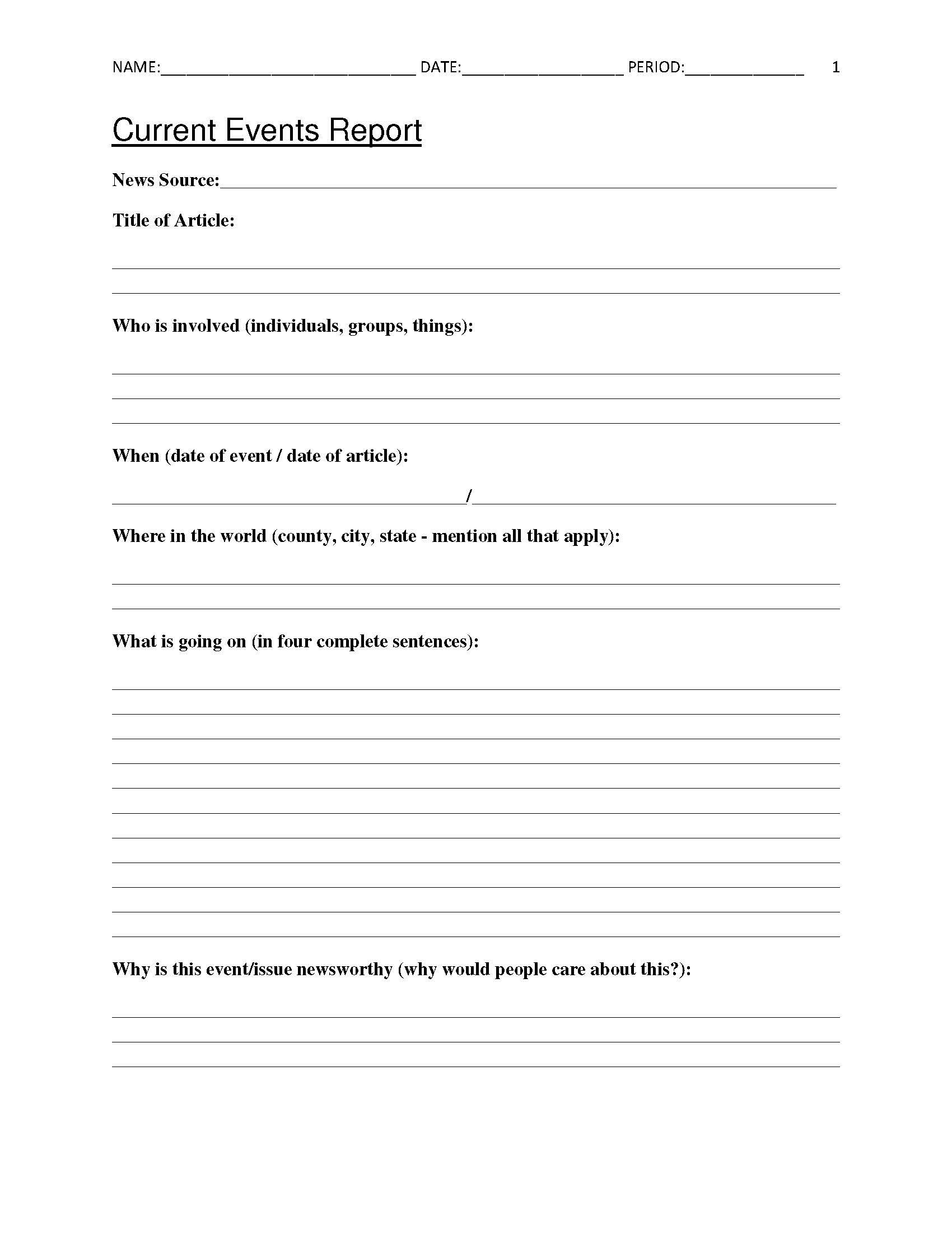 Free Current Events Report Worksheet For Classroom