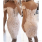 Cool great new short mermaid wedding dresses off shoulder lace