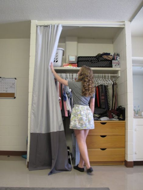 Closet Curtains For Your Dorm Use A Tension Rod Or Velcro 3M Command Strips To Hang The