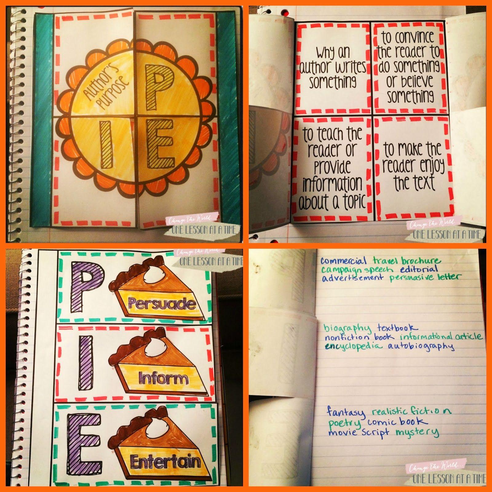 Author S Purpose Interactive Notebook Freebie Blairturner