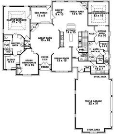 654269 4 Bedroom 3 5 Bath Traditional House Plan With Two 2