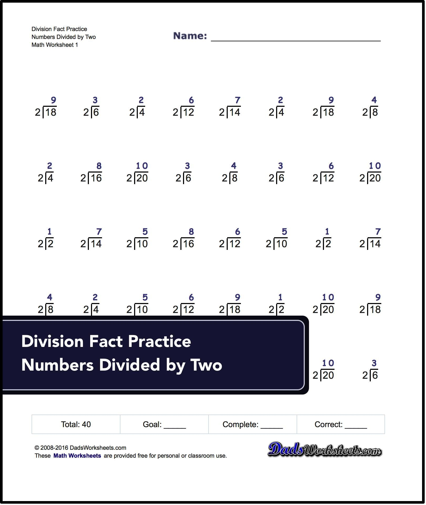Basic Practice Division Worksheets Designed To Work As One Minute Timed Tests Or Exercise For