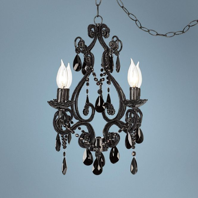 Black Glass Plug In Swag Style Chandelier