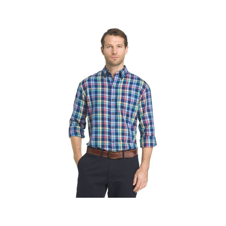 Menus IZOD Fieldhouse RegularFit Plaid EasyCare ButtonDown Shirt