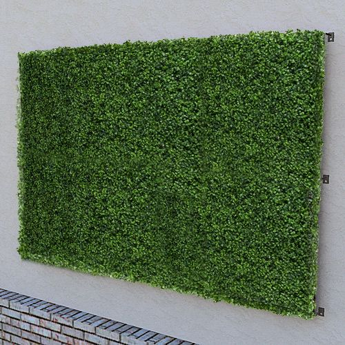 a 96 x48 artificial green wall panel made with boxwood on interior using artificial boxwood panels with flowers id=32698