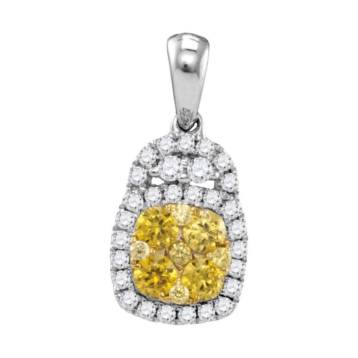 kt White Gold Womens Round Yellow Natural Diamond Cluster Fashion