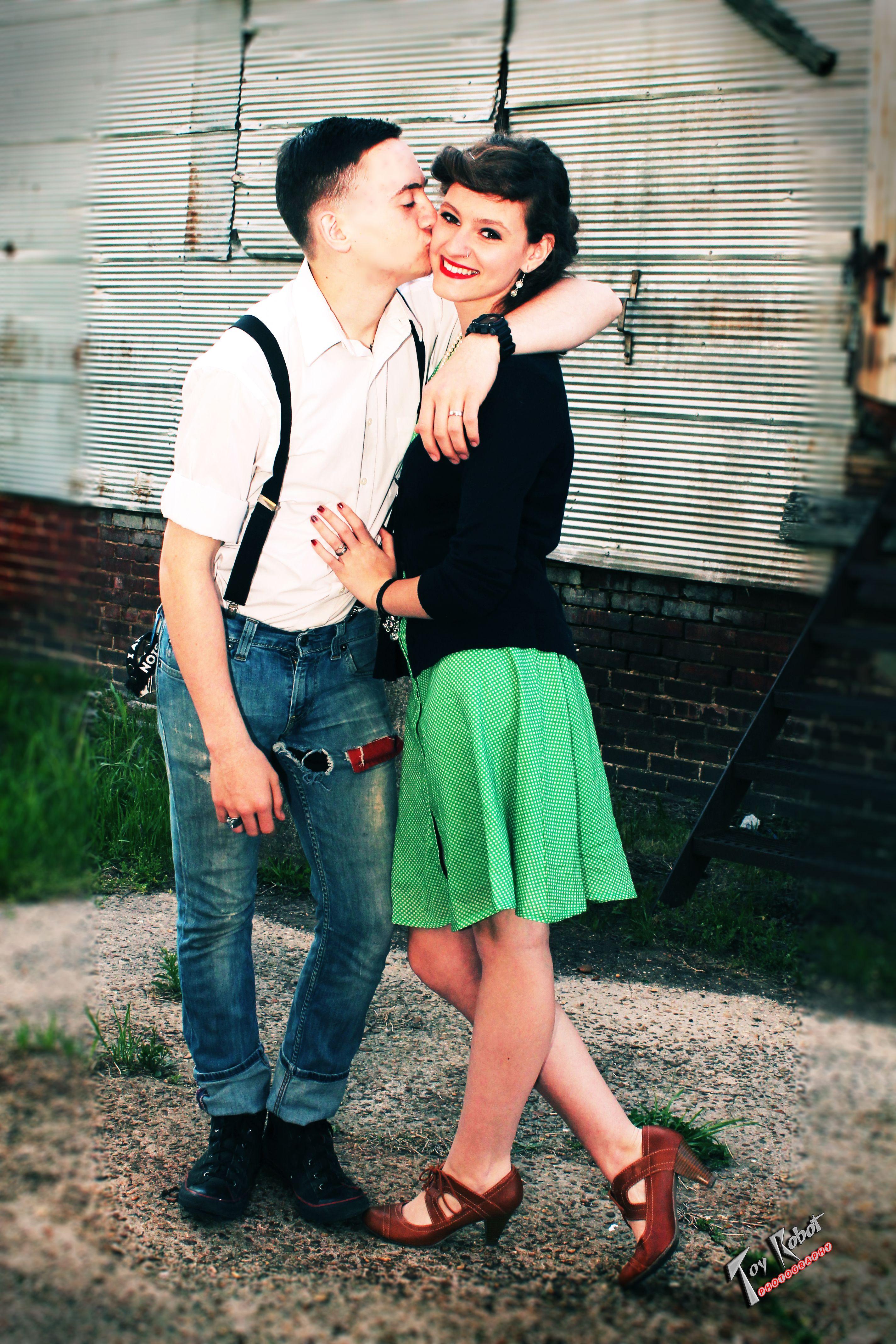 Rockabilly Rockabella Couple Photo Shoot Greaser Guy