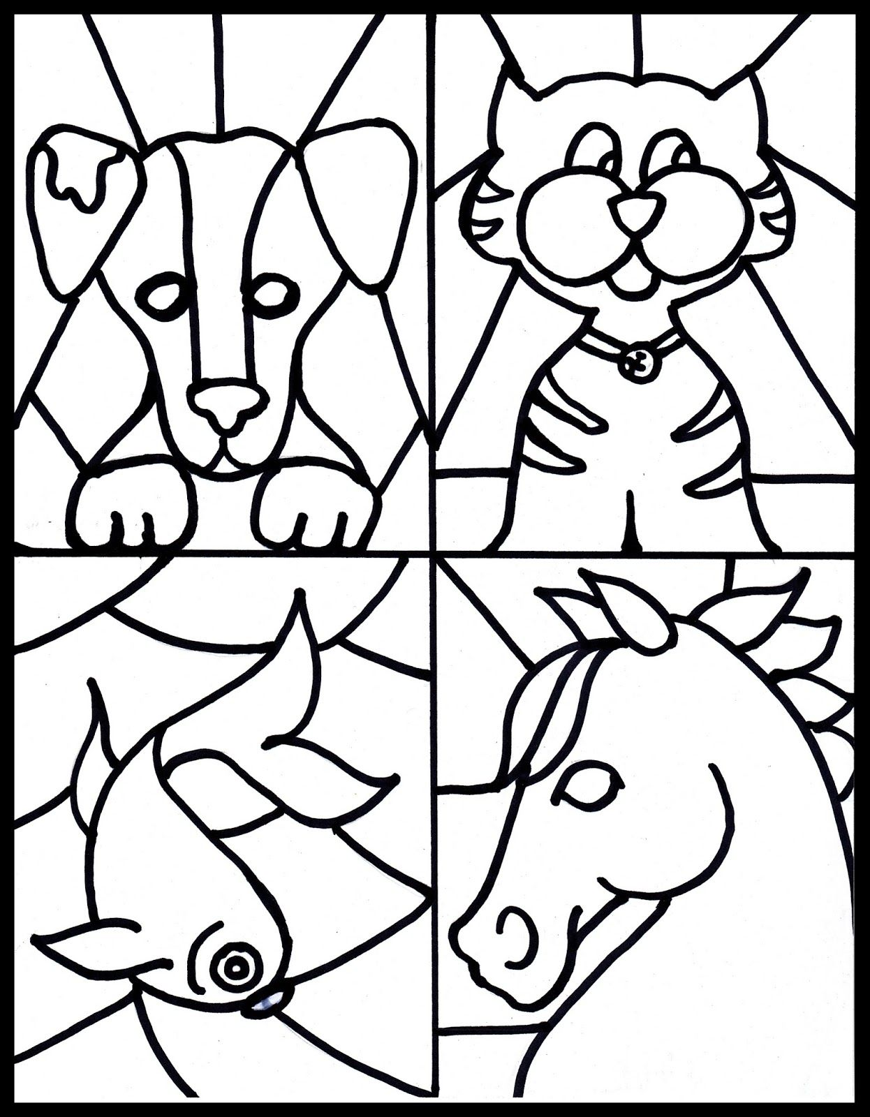 Free Stained Glass Pet Printable Kid S Craft To Go With Book Counting By 7s
