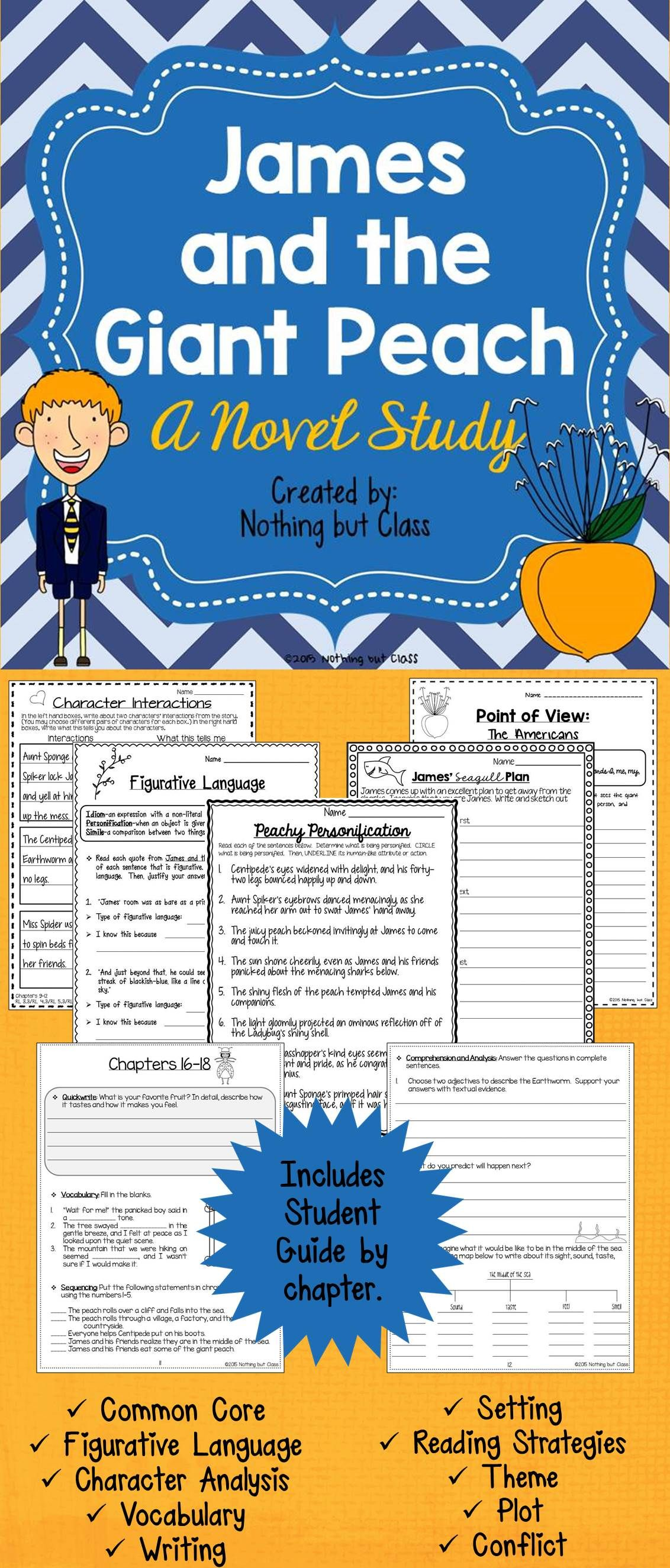 James And The Giant Peach Novel Study Unit Comprehension Activities Tests