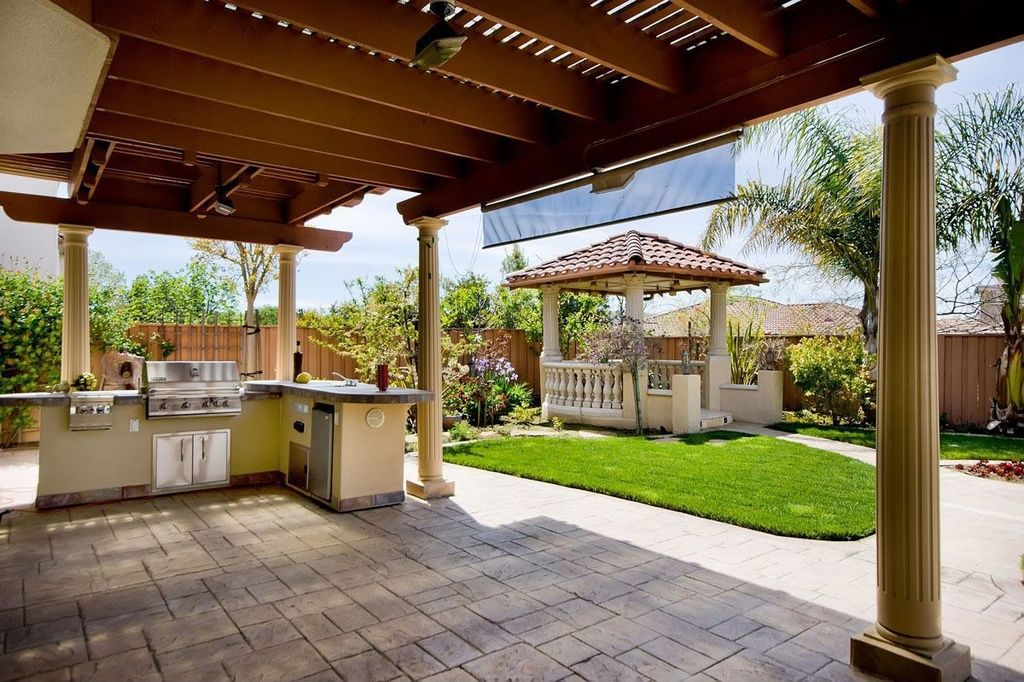 mediterranean porch with vermont castings 5 burner built in bbq grill natural gas gazebo on outdoor kitchen gazebo ideas id=37382