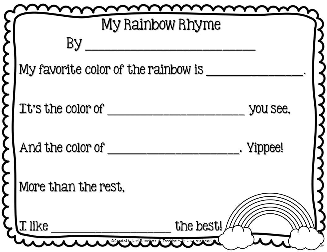 Teaching With Love And Laughter My Rainbow Rhyme Freebie