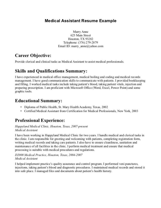 Resume Medical Assistant Examples Resume Sample 70 Medical