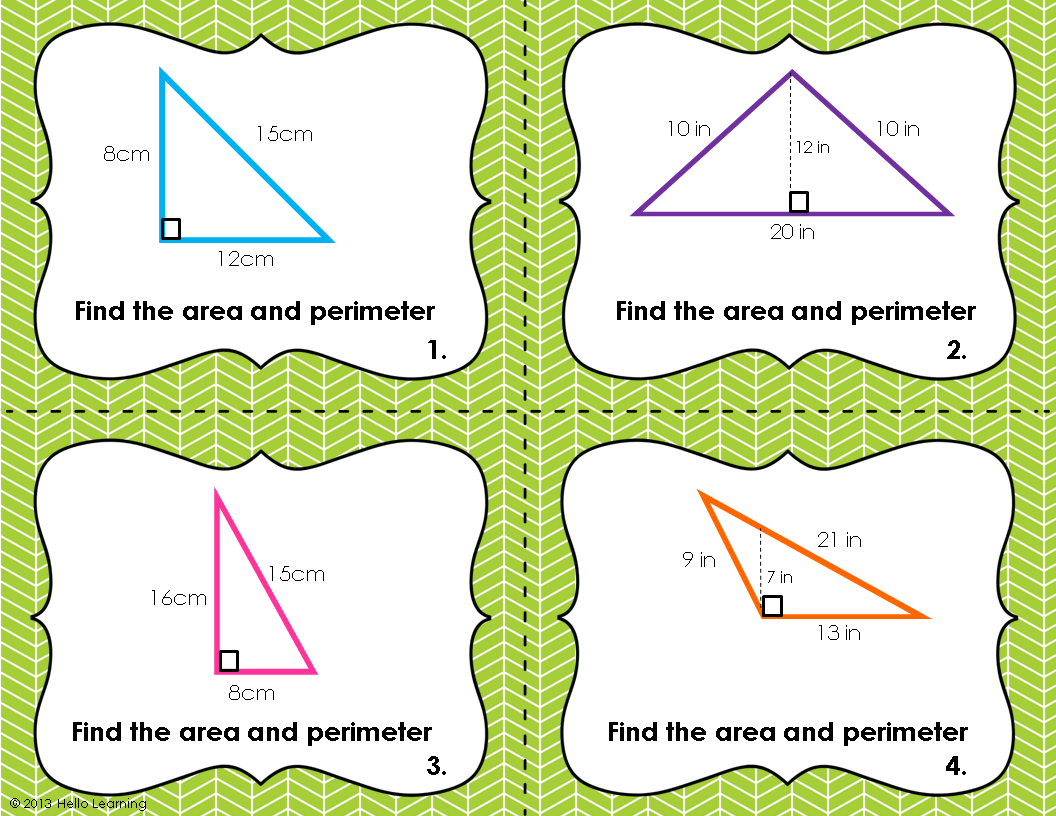 Triangle Perimeter And Area Task Cards