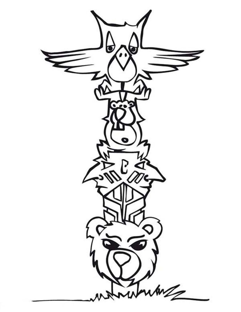 free coloring pages of totem pole ber  painting and