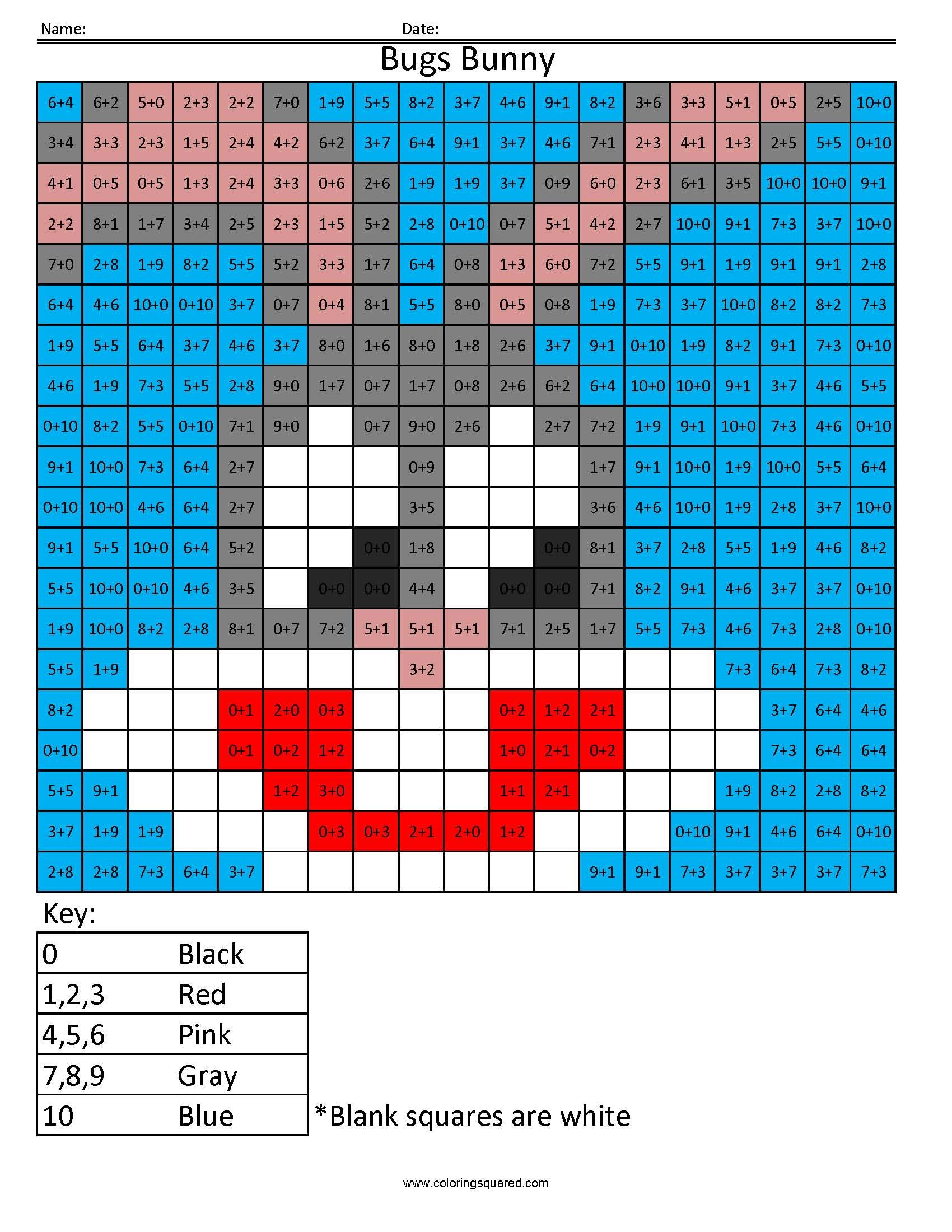 Multiplication Mosaics Worksheet