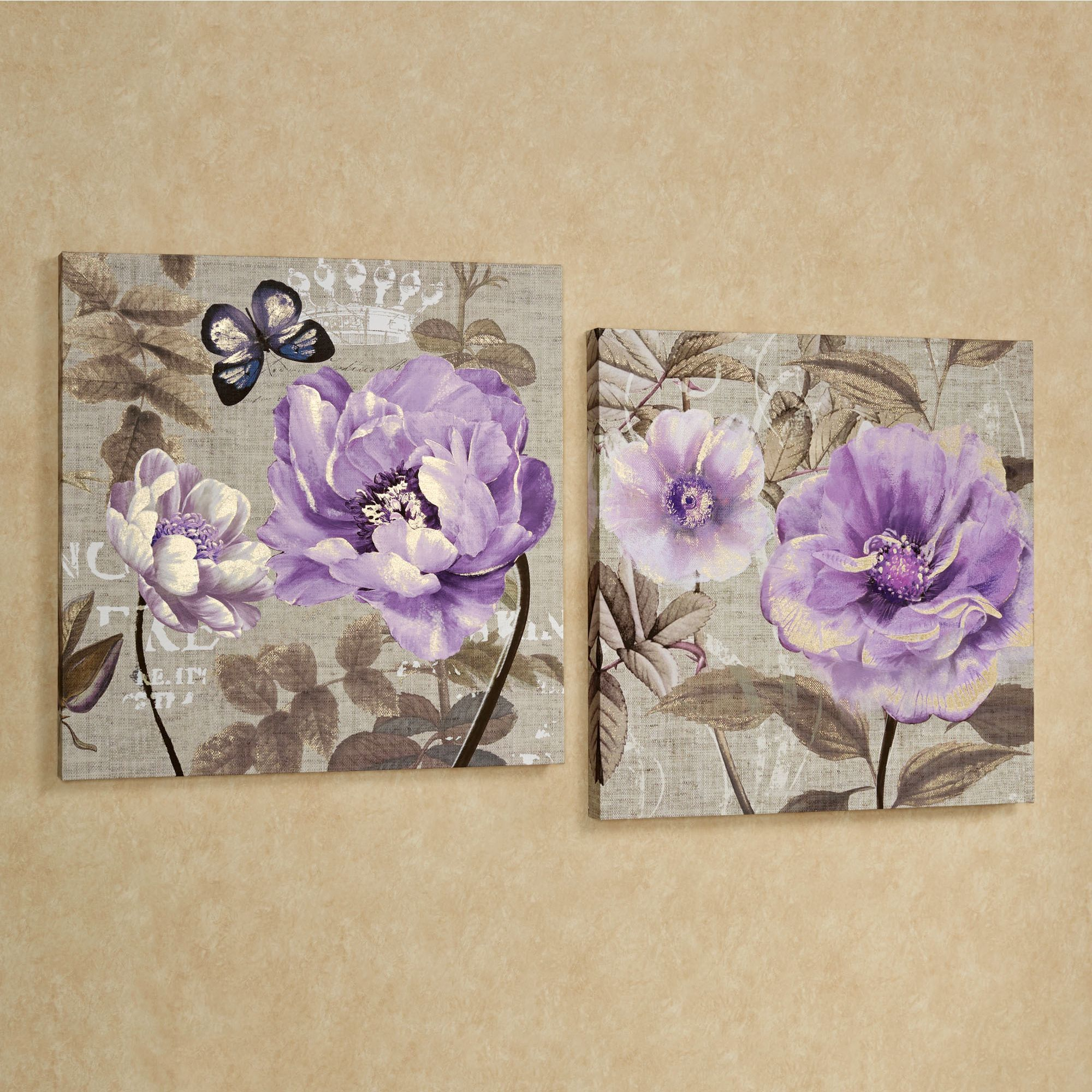 floral delight purple flower canvas wall art set wall on canvas wall art id=53343