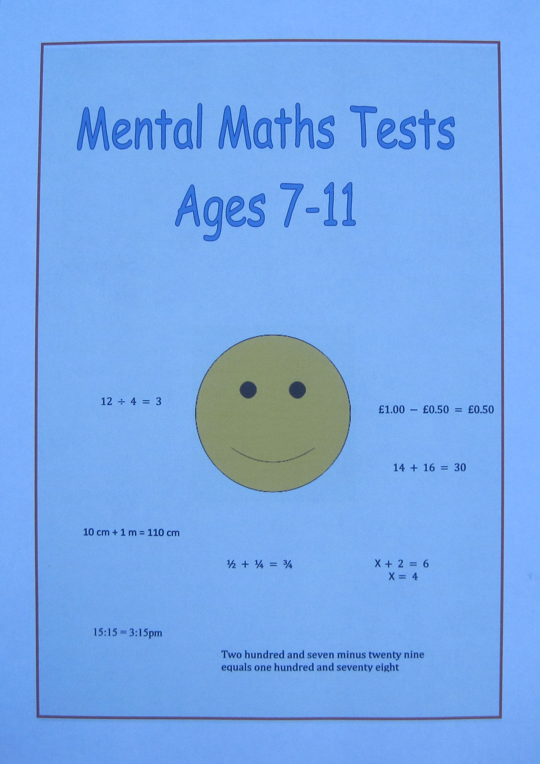 Mental Maths Tests For Each Year Group Aged 7 8 9 10