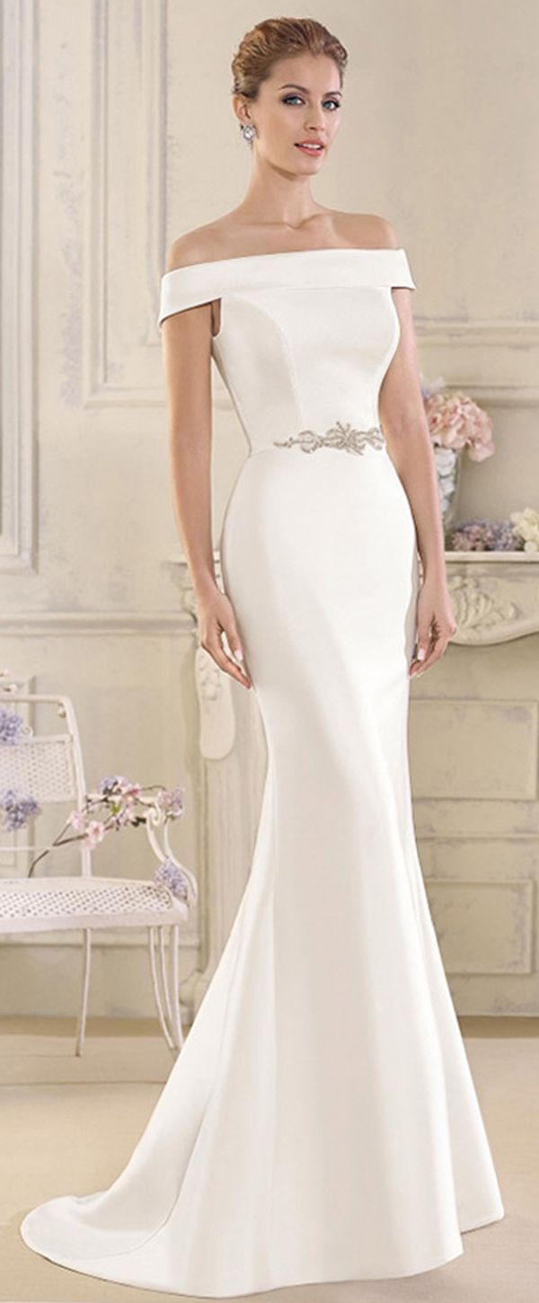 Elegant Satin Offtheshoulder Neckline Mermaid Wedding Dresses With