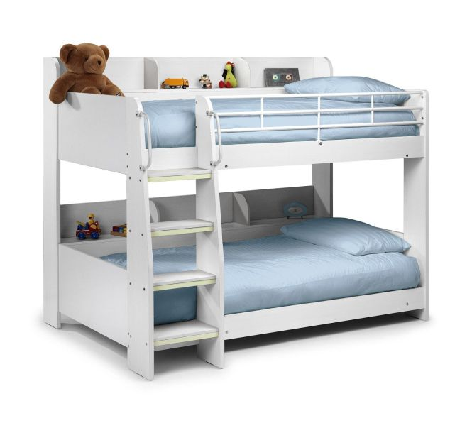 Hy Beds Domino White Wooden And Metal Kids Storage Bunk Bed 2 Spring Mattresses Single From Our Range At Tesco Direct