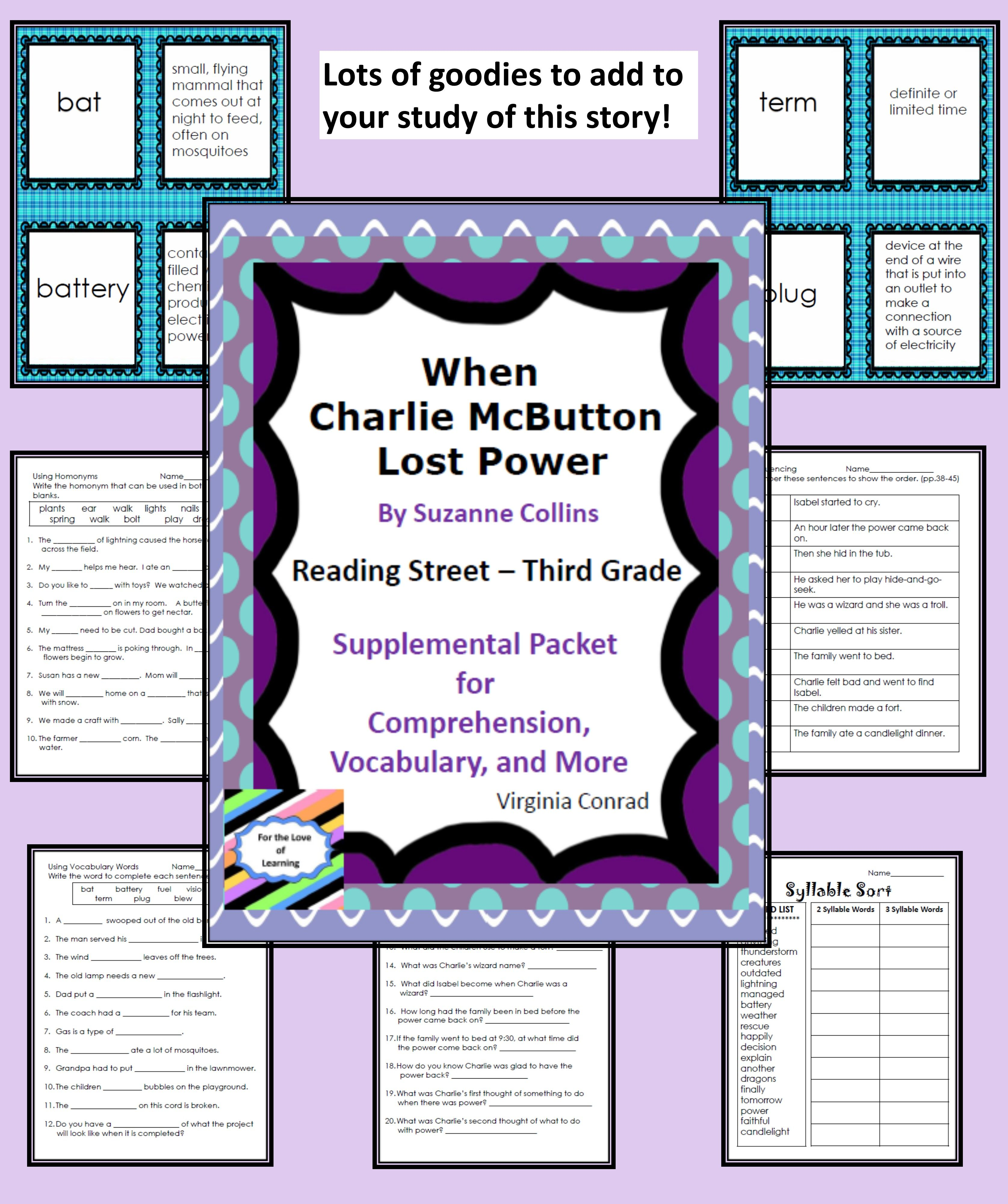 When Charlie Mcbutton Lost Power Reading Street Supplemental Packet