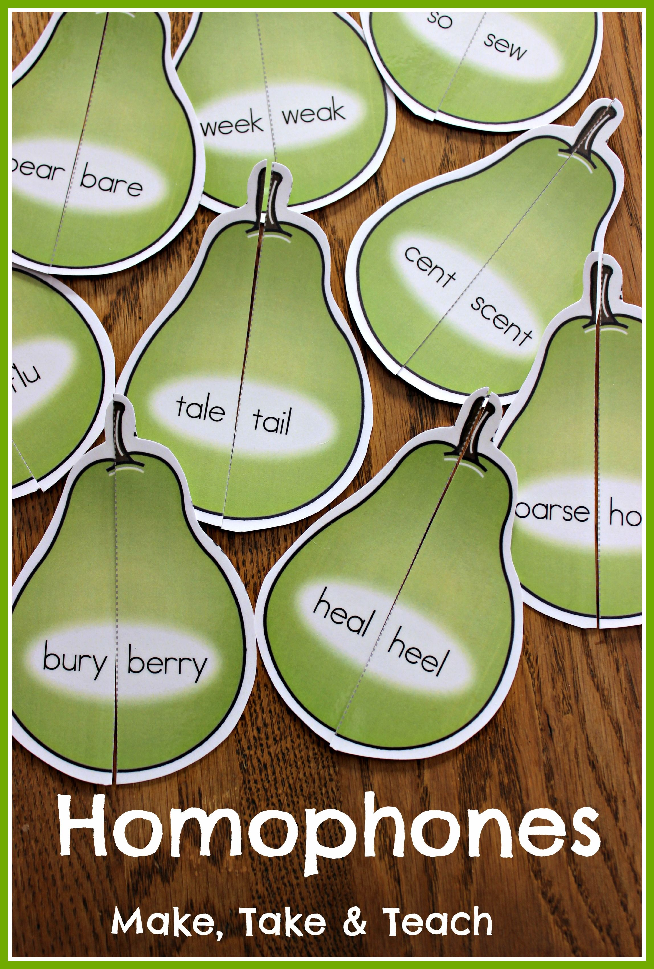 72 Colorful Homophone Pears Fun Small Group Or Literacy