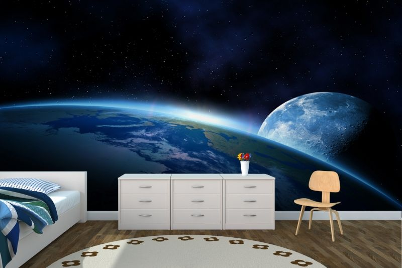 earth and moon space wallpaper wall mural | muralswallpaper.co.uk