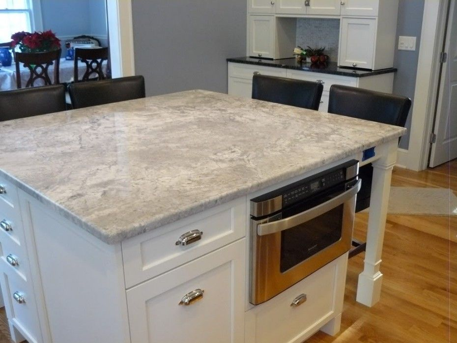 modern white stained wooden island built in microwafe cupboard using square light gray quartz on kitchen island ideas white quartz id=98701