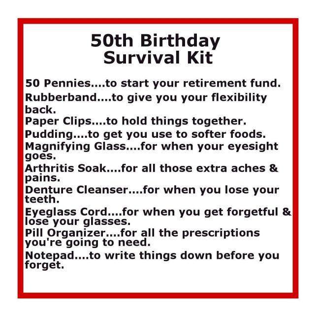 50th birthday survival kit birthday survival kit