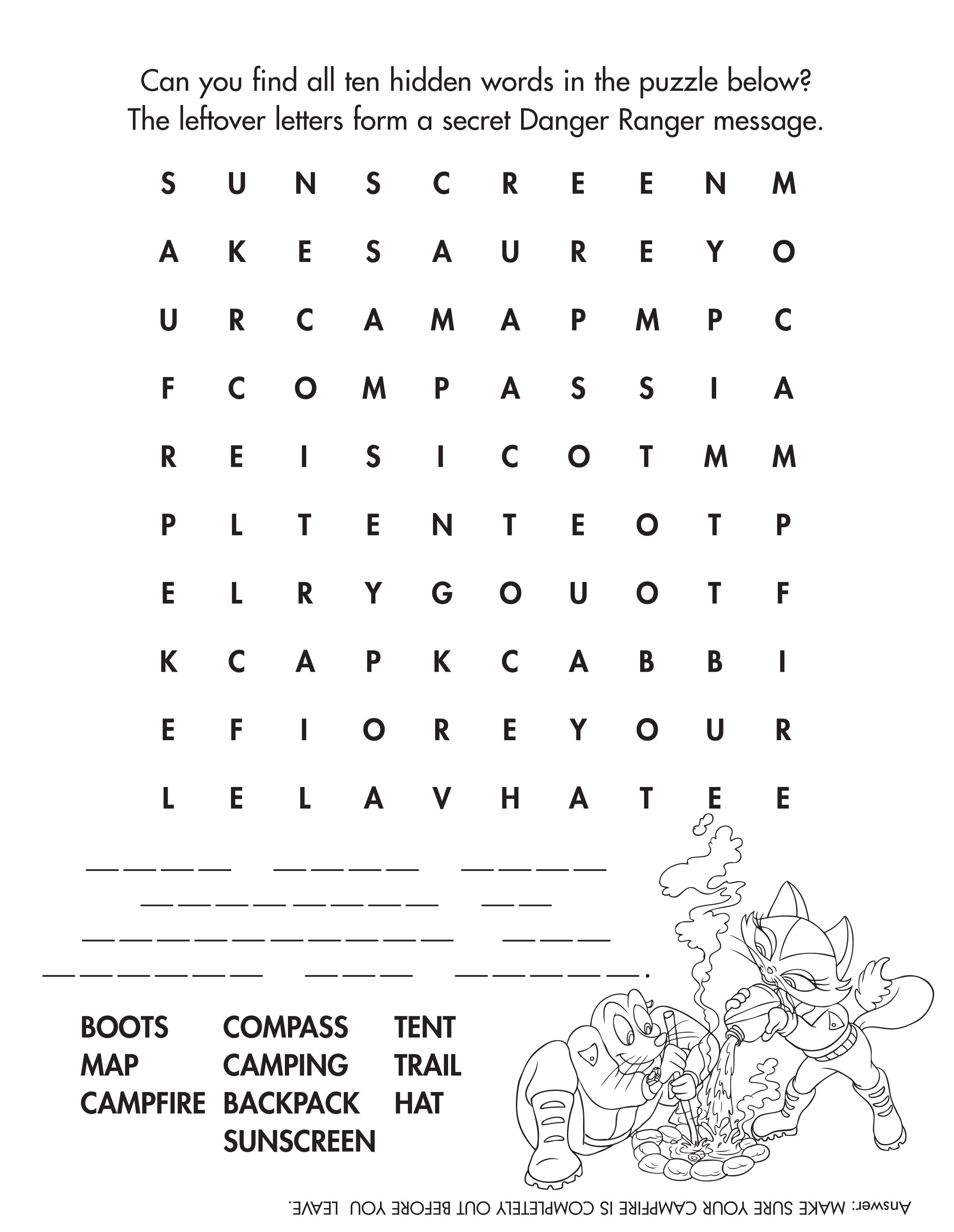 Camping Word Find Camping Kidactivities