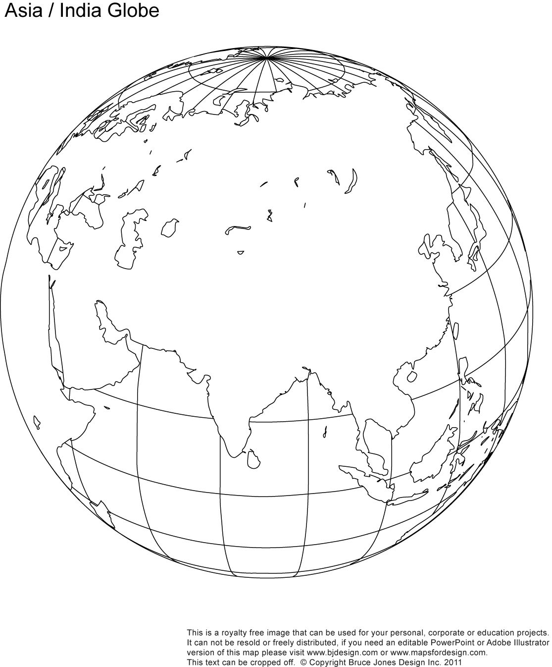 Fill In Asia India Blank Globe Map