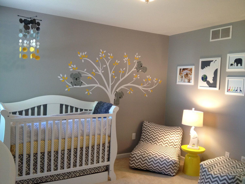 """Handmade """"Smokie"""" Nursery Mobile...Smoke Gray And Yellow"""