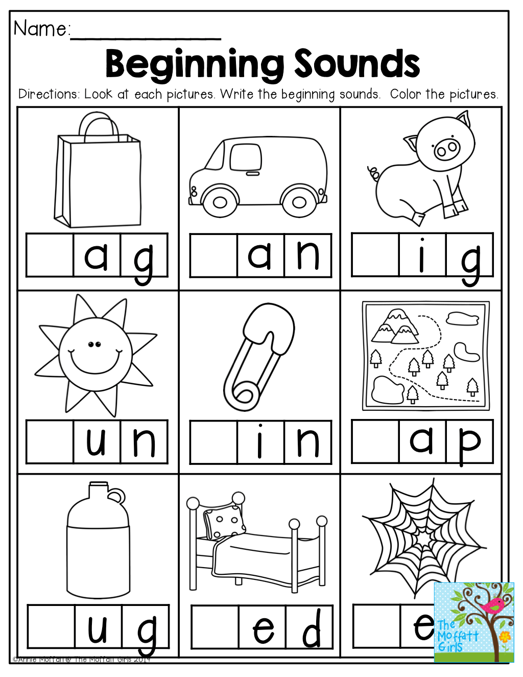 Beginning Sounds And So Many Other Great Printables For Back To School