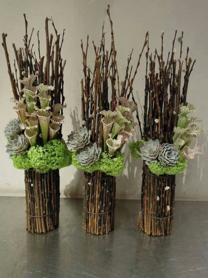 Pitcher Hydrangea And Dried Stick Arrangement Kesme