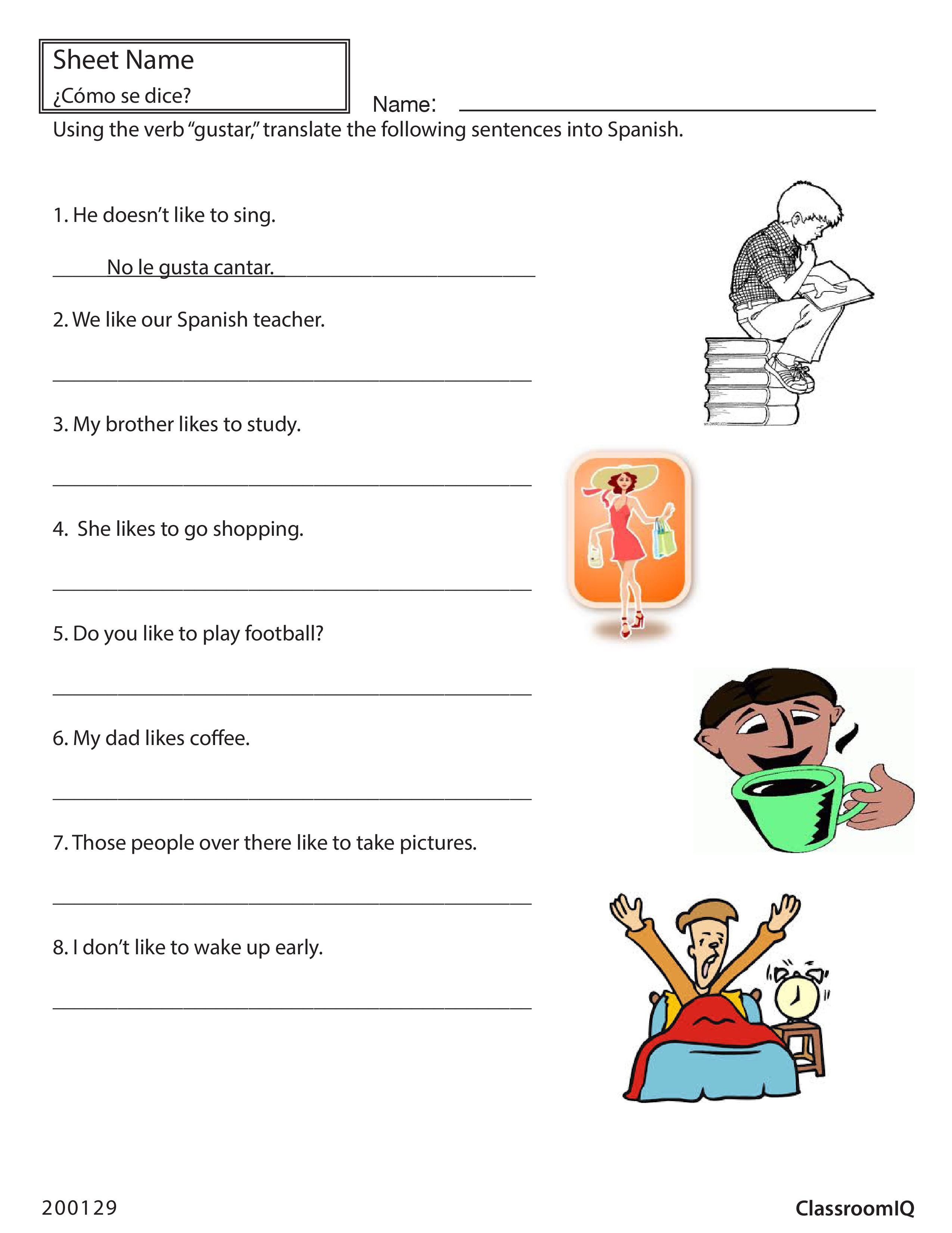 Translate English Sentences With Gustar Spanishworksheet