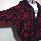 Vintage red black flower deep v neck cardigan red black dress