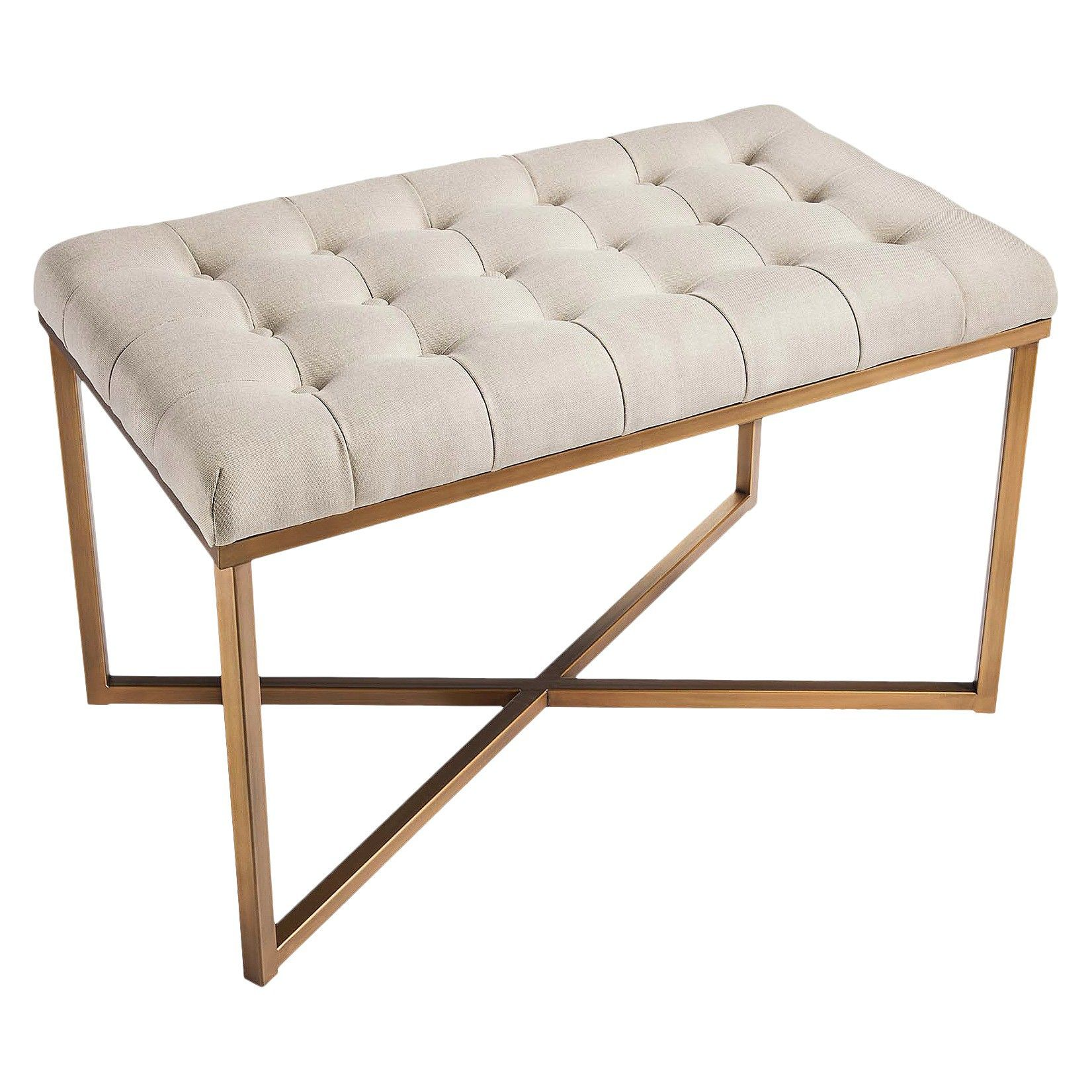 threshold™ tufted bench - buff beige and gold : target