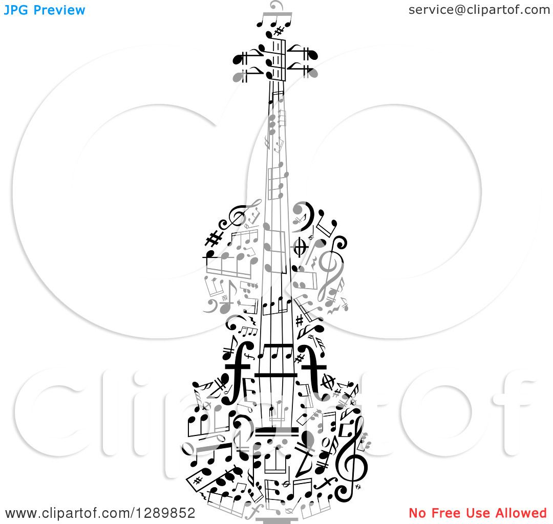I Could Draw This Clipart Of A Black And White Violin